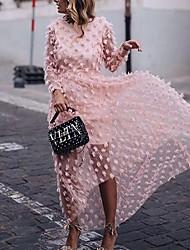 cheap -Women's Maxi A Line Dress - Long Sleeve Solid Color Summer Elegant 2020 Blushing Pink S M L XL