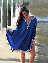 cheap -Women's Blue Royal Blue Dress Loose Floral Sequins Tassel Fringe One-Size