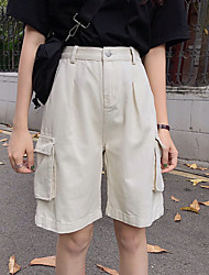 cheap -Women's Basic Cargo Pants - Solid Colored Black Beige S M L