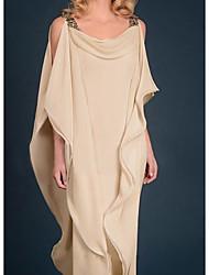 cheap -Sheath / Column Mother of the Bride Dress Elegant Jewel Neck Floor Length Chiffon Satin Half Sleeve with Beading Cascading Ruffles 2021