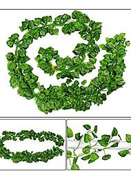 Недорогие -ротанга искусственный плющ лист гирлянды растения лозы для подвешивания свадебные гирлянды поддельные листва цветы домашняя кухня сад офис свадьба декор стены 1 упаковка 200x10 см в целом