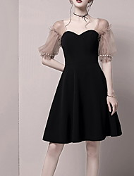 cheap -A-Line Little Black Dress Black Homecoming Cocktail Party Dress Sweetheart Neckline Short Sleeve Short / Mini Spandex with Pearls 2020