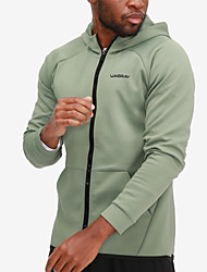cheap -Men's Sports Spring Regular Coat, Solid Colored Round Neck Long Sleeve Polyester Army Green / White / Black
