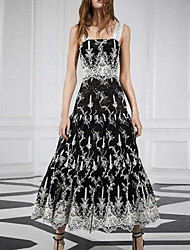 cheap -A-Line Bohemian Black Holiday Prom Dress Scoop Neck Sleeveless Ankle Length Spandex with Pleats Pattern / Print 2020