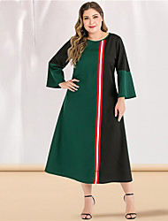 cheap -Women's Plus Size Maxi A Line Dress - Long Sleeve Color Block Solid Color Patchwork Spring & Summer Casual Elegant Daily Going out Green L XL XXL XXXL XXXXL