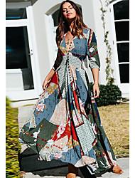 Недорогие -Жен. Платье A-силуэта Длинное платье - Рукав 3/4 С принтом V-образный вырез Синий S M L XL