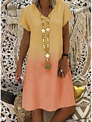 cheap -Women's Shift Dress Knee Length Dress - Short Sleeves Color Gradient Summer V Neck Casual Vacation 2020 Purple Red Yellow Khaki S M L XL XXL XXXL XXXXL XXXXXL