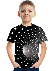 cheap -Kids Boys' Active Street chic Color Block 3D Print Short Sleeve Tee Black