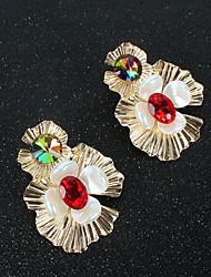 Недорогие -Женские серьги-кольца Классический цветок Love Shell Классические винтажные серьги с серьгами Фиолетовый Желтый Красный для подарка в день 1 пара