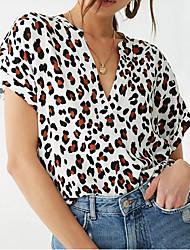 cheap -Women's Leopard Print T-shirt Daily V Neck White