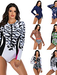 cheap -Women's One Piece Swimsuit Floral / Botanical Padded Swimwear Swimwear Black Red Green Thermal Warm Breathable Quick Dry Long Sleeve - Swimming Surfing Water Sports Autumn / Fall Spring / Stretchy