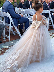 cheap -Ball Gown Court Train Wedding Flower Girl Dresses - Polyester 3/4 Length Sleeve Boat Neck with Bow(s) / Solid