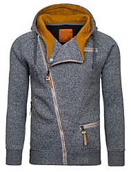 cheap -Men's Hoodie Geometric Hooded Basic Slim Black Light gray Dark Gray M L XL XXL