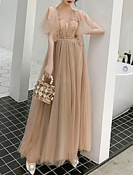 cheap -A-Line Sparkle Gold Engagement Prom Dress V Neck Half Sleeve Floor Length Tulle with Sequin 2020
