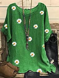 cheap -Women's Floral Daisy Print T-shirt Daily Wine / Black / Khaki / Green / Gray