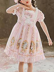 cheap -Kids Girls' Boho Cute Snowman Floral Cartoon Ruched Mesh Lace up Short Sleeve Above Knee Dress Blushing Pink