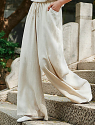 cheap -Women's Basic Wide Leg Pants - Solid Colored White Black Beige S M L
