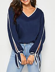 cheap -New 2020 Women's V-neck Trim Elegant Soild Split Sleeve Blouse