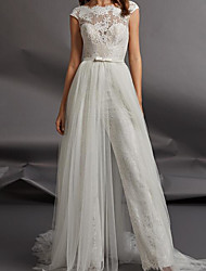 cheap -Jumpsuits Wedding Dresses Jewel Neck Floor Length Detachable Lace Tulle Cap Sleeve Country Plus Size with Sashes / Ribbons Appliques 2020