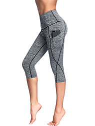 cheap -Women's High Waist Yoga Pants Side Pockets Capri Leggings Tummy Control Butt Lift 4 Way Stretch Black Purple Dark Gray Spandex Lycra Non See-through Fitness Gym Workout Running Sports Activewear High