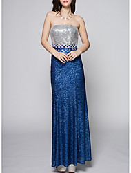 cheap -Sheath / Column Sparkle Blue Party Wear Prom Dress Strapless Sleeveless Floor Length Polyester with Sequin 2020