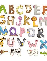 Недорогие -Съемный мультфильм милые животные буквы алфавита водонепроницаемый пвх diy стикер стены детская комната декор двери