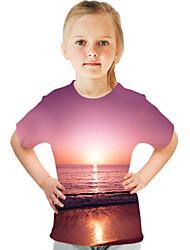 cheap -Kids Girls' T shirt Tee Short Sleeve Color Block 3D Print Rainbow Children Tops Active Streetwear Children's Day