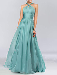 cheap -A-Line Halter Neck Floor Length Chiffon Bridesmaid Dress with Pleats / Draping