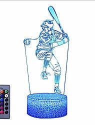Недорогие -бейсбол 3d ночь свет лампы эффект иллюзии огни детская спальня декор сон помощи 16 цветов по желанию&усилитель; затемняемые лучшими подарками для любителей бейсбола, детей младшего подростка