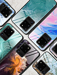 cheap -Case For Samsung scene map Samsung Galaxy S20 S20 Plus S20 Ultra A51 A71 colorful marble pattern tempered glass back plate TPU frame 2-in-1 anti-drop mobile phone case JMGD