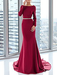 cheap -Mermaid / Trumpet Elegant Red Engagement Formal Evening Dress Boat Neck Long Sleeve Court Train Satin with Sash / Ribbon 2020