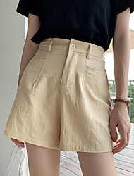 cheap -Women's Basic Loose Shorts Pants - Solid Colored Cotton Black Blue Blushing Pink S / M / L