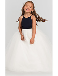 cheap -A-Line Floor Length Wedding / Party Flower Girl Dresses - Satin / Taffeta / Tulle Sleeveless Jewel Neck with Bow(s) / Tier