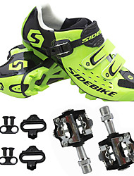 cheap -Unisex Cycling Shoes With Pedals & Cleats Mountain Bike Shoes Nylon Breathable Anti-Shake / Damping Cushioning Synthetic Microfiber PU Green / Quick Dry