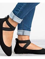 cheap -Women's Flats Flat Heel Round Toe Satin Summer Light Brown / Brown / Black
