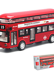 cheap -1:32 Toy Car Model Car Double-decker Bus Music & Light Pull Back Vehicles Metal Alloy Mini Car Vehicles Toys for Party Favor or Kids Birthday Gift 1 pcs