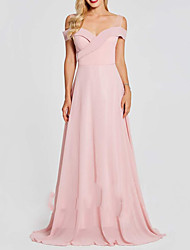 cheap -A-Line V Neck Floor Length Polyester Bridesmaid Dress with Pleats
