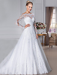 cheap -A-Line Wedding Dresses Off Shoulder Court Train Organza Long Sleeve Sexy See-Through with Appliques 2020