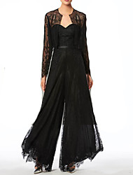 cheap -Pantsuit / Jumpsuit Mother of the Bride Dress Elegant Sweetheart Neckline Floor Length Lace Long Sleeve with Lace 2021