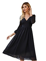 cheap -Women's Black Dress A Line Solid Color S M