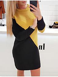 cheap -Women's Black Sweater Dress - Long Sleeve Color Block Patchwork Spring & Summer Fall & Winter Choker Street chic Daily Going out Lantern Sleeve Belt Not Included Black Yellow S M L XL XXL XXXL XXXXL