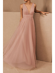 cheap -A-Line V Neck Floor Length Tulle / Stretch Satin Bridesmaid Dress with Pleats