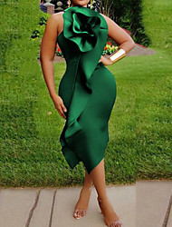 cheap -Women's Red Green Dress Bodycon Solid Color S M