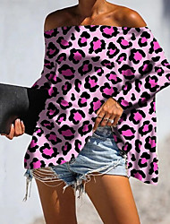 cheap -Women's Leopard Blouse Daily Off Shoulder White / Yellow / Blushing Pink