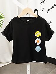 Недорогие -Дети Мальчики Классический Кот Цветочный принт С принтом С короткими рукавами Футболка Черный