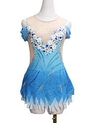 cheap -Figure Skating Dress Women's Girls' Ice Skating Dress Blue Patchwork Asymmetric Hem Spandex High Elasticity Competition Skating Wear Crystal / Rhinestone Half-Sleeve Ice Skating Figure Skating / Kids
