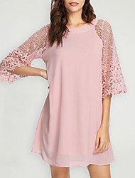 cheap -Women's Loose Dress - 3/4 Length Sleeve Solid Color Loose White Black Yellow Blushing Pink