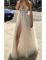 cheap -A-Line Sexy White Engagement Prom Dress V Neck Sleeveless Floor Length Tulle with Beading Split 2020