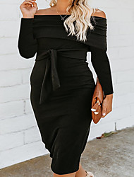 cheap -Women's Bodycon Dress - Long Sleeve Solid Color Lace up Spring & Summer Off Shoulder Basic Vintage Party Weekend Lantern Sleeve Wine Black Gray S M L XL