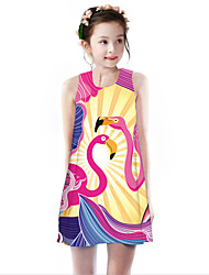 cheap -Kids Girls' Basic Cute Flamingos Animal Cartoon Bird Print Sleeveless Knee-length Dress Fuchsia